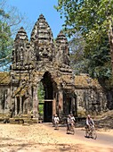 Angkor Thom, located in present day Cambodia, was the last and most enduring capital city of the Khmer empire. It was established in the late twelfth century by king Jayavarman VII. It covers an area of 9 km², within which are located several monuments fr