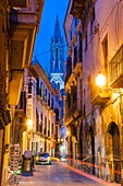 Morey street and bell tower of the Gothic church of Santa Eulalia, XIV-XIX, Mallorca, Balearic Islands, Spain