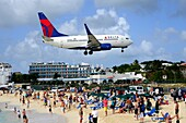 Maho Beach Airplanes St  Martin Maarten Caribbean Island Netherland Antilles