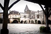 Monpazier, labelled Les Plus Beaux Villages de France The Most Beautiful Villages of France, Place des Cornieres in the Bastide Medieval fortified village, Perigord Pourpre, Dordogne, France