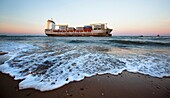 Freighter stranded on the saler, Valencia, Spain