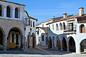 A typical corner in the famous main square of Garrovillas de Alconétar, one of the twelve main squares of Spain and declarated BIC Cultural Interest Goods  Cáceres province  Spain