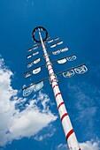 Worm´s eye view of a maypole, Hofgeismar, Hesse, Germany, Europe