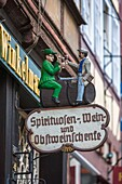 advertising, advertize, color image, commerce, day, Europe, fairy tale, German, Germany, Hannoversch Münden, Lower Saxony, outdoors, route, sign, vertical, V04-1844537, AGEFOTOSTOCK
