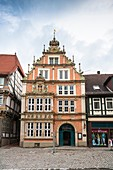 The picturesque Leisthaus in Hamelin on the German Fairy Tale Route, Lower Saxony, Germany, Europe