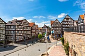 Traditional houses at the market square in Homberg Efze on the German Fairy Tale Route, Hesse, Germany, Europe