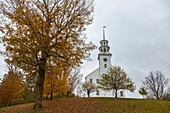 The picturesque Town House with belltower in Strafford, Vermont, USA