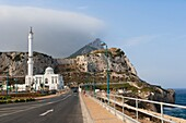 The Ibrahim al Ibrahim Mosque, the King Fahd bin Abdulaziz al Saud Mosque, the Mosque of the Custodian of the Two Holy Mosques against Rock of Gibraltar, Europa Point, Gibraltar
