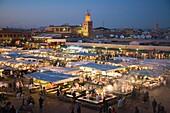 africa, morocco, marrakech, jemaa el fna square, food market