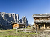 Mount Schlern also called mount sciliar seen from the Alpe Seiser Alm in South Tyrol during autumn  Traditional alpine cabins used by mountain farmers of the Alpe Seiser Alm  The Schlern is one of the icons of South Tyrol  The Schlern is part of the UNESC