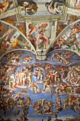 The Last Judgement by Michelangelo at the Sistine chapel, Vatican, Rome, Italy