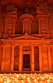 Al Khazneh The Treasury lightened by candles  Petra, Jordan  It is one of the most elaborate temples in the ancient Jordanian city of Petra  As with most of the other buildings in this ancient town, this structure was also carved out of a sandstone rock f