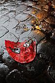 broken spiderman plastic mask on wet road in city town