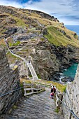 Tintagel Castle on the clifftops  In legend it was King Arthur´s Castle fortress and was believed to have been constructed around AD1140, Cornwall, England, UK, Europe