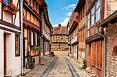 Gildschaft alley in Quedlinburg, Saxony-Anhalt, Germany, Europe