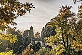 Spectacular rock formation Bastei (Bastion) and Bastei Bridge. It is one of the most visited tourist attractions in the Saxon Switzerland, municipality Lohmen, near Dresden, Saxony, Germany, Europe