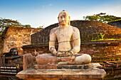 Sri Lanka - Vatadage Temple, buddha stone statue, Ancient City area, ruins of ancient Royal Residence, Polonnaruwa, old capital city of Sri Lanka, UNESCO World Heritage Site