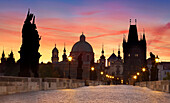 Prague Old Town at sunrise time, Bridge Tower and Charles Bridge, Prague, Czech Republic, Europe