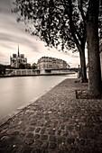 Walkway along River Seine and Cathedral Notre Dame, Paris, Ile-de-France, France