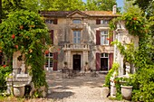 Front entry to Chateau Roussan near Saint Remy de-Provence, France