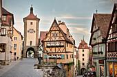 Ploenlein and Siebers Tower, Rothenburg ob der Tauber, Romantic Road, Franconia, Bavaria, Germany