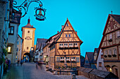 Ploenlein and Siebers Tower at dusk, Rothenburg ob der Tauber, Romantic Road, Franconia, Bavaria, Germany