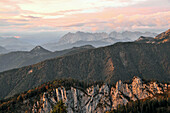 View to the south from Sonnenalp under the Kampenwand, Chiemgau, Upper Bavaria, Bavaria, Germany