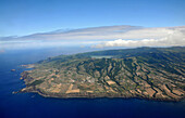Aerial photo of the west part of the island with Lagoa Azul, Island of Sao Miguel, Azores, Portugal