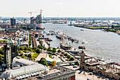 View to Hamburg harbour with the Elbphilharmonie and the Landungsbruecken, Hamburg, Germany
