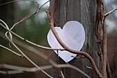 Paper Heart on Wood Post Amongst Vines