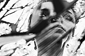 Woman's Face with Three Eyes Reflected in Broken Mirror, Abstraction