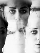 Abstract Multiple Faces of Young Woman