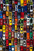 Many Minature Toy Cars, High Angle View