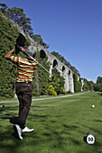 Golfer In Front Of The Aqueduct Of Maintenon, Eure-Et-Loir (28), France