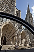 Bicycle Tourists In Front Of The Cathedral, Chartres, Eure-Et-Loir (28), France