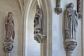 Statues Of Saints Including Saint Agnes In The Center, Decoration In The 15Th Century Holy Chapel At The Chateau De Chateaudun, Eure-Et-Loir (28), France