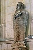 Statue Of Saint Marie The Egyptian With Her Thick, Long Hair And Holding Three Buns, The Interior Of The 15Th Century Holy Chapel At The Chateau De Chateaudun, Eure-Et-Loir (28), France