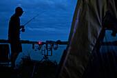 Carp Fishing At Night, Lake In Mezieres-Ecluizelles, Eure-Et-Loir (28), France