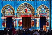 New Scenography On The Royal Door Of The Cathedral Staged By 'Spectaculaires, Allumeurs D'Images', Chartres In Lights, Eure-Et-Loir (28), France
