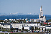General View Of Reykjavik City Centre And Hallgrimskirkja Cathedral With, In The Background, The Sea And The Town Of Akranes, Reykjavik, Iceland