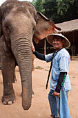 Mahout Or Cornac, Elephant Master And Guide Posing With His Protege In The Elephant Camp At The Deluxe Hotel Anantara Golden Triangle, Region Of The Golden Triangle, Thailand, Asia