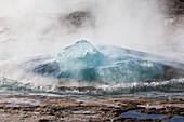 Gas Bubbles Rising, Strokkur Geyser Before An Eruption, Geothermal Field Of Geysir, Southwest Iceland, Europe