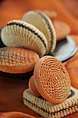 Pumice Stones Of Terracotta And Makkhas, Palm Wood Shingles Covered In Wool, Used In The Hammam To Eliminate Calluses, Traditional Body Care, Bazaar Of Marrakech, Morocco, Africa