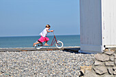 Little Girl On A Scooter On The Boardwalk, Beach Of Cayeux-Sur-Mer, Bay Of Somme (80), France