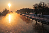 Snow In Winter On The Banks Of The Somme At Sunset, Saint-Valery-Sur-Somme, Somme (80), France