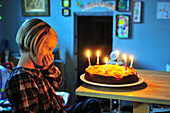 Little Girl Getting Ready To Blow Out The Candles On Her Cake, Birthday Party, Somme (80), France
