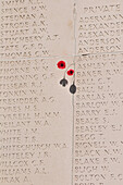 Inscription Of The Names Of Soldiers Without Graves On The Walls Of The Australian National Memorial Inaugurated In 1938, Villiers-Bretonneux, Somme (80), France