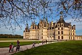 Tourists Leaving The Renaissance-Style Chateau De Chambord, Loir-Et-Cher (41), France