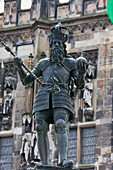 Statue Of Charlemagne In Front Of The City Hall, Aachen, Germany