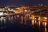 Yacht Marina At Night, Vittoriosa (Birgu), Malta